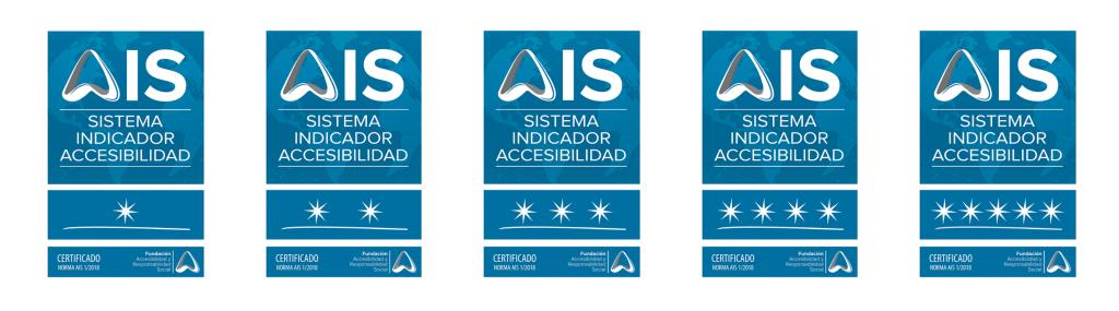 Aparecen las 5 Placas de la certificación AIS con los grados de 1 a 5 estrellas
